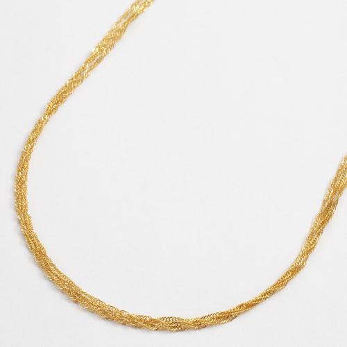 純金 ネックレス スクリュー チェーン 3連 45cm K24 刻印 2070-NG13
