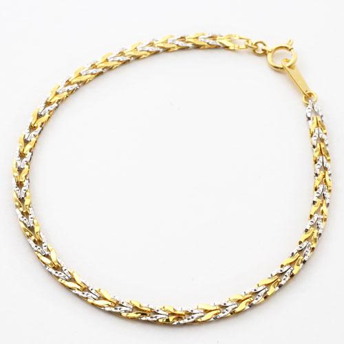 純金 純プラチナ コンビ ブレスレット チューリップ リバーシブル 2123-BP14