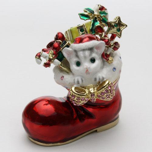 ジュエリーケース ねこ ブーツ 宝石箱 クリスマス ジュエリーボックス 2186-JC14
