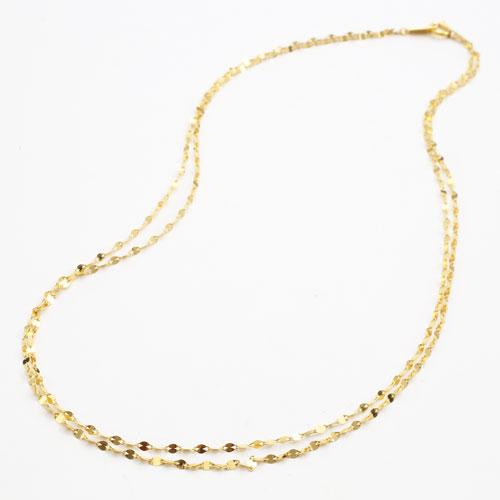 純金 24金 K24 ペダル チェーン ネックレス 2連 42cm 3.1g 2206-NG14