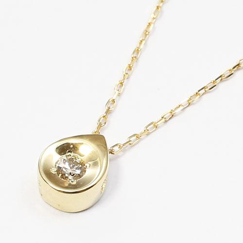 10金 ダイヤモンド 0.04ct ペンダント 涙のしずく アズキチェーン 2207-PG14