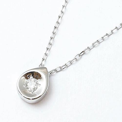 10金 ホワイトゴールド ダイヤモンド 0.04ct ペンダント 涙のしずく 2208-PG14