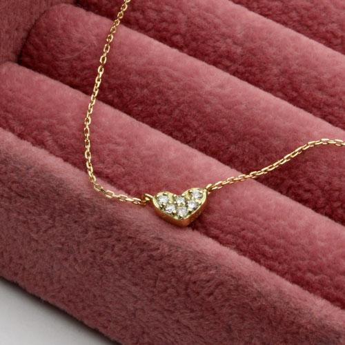 18金 ダイヤモンド 0.05ct ハート ペンダント ネックレス K18YG 2209-PG14
