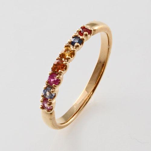 10金 ピンキーリング 天然石 イルミネーション アミュレット 指輪 2211-RG14