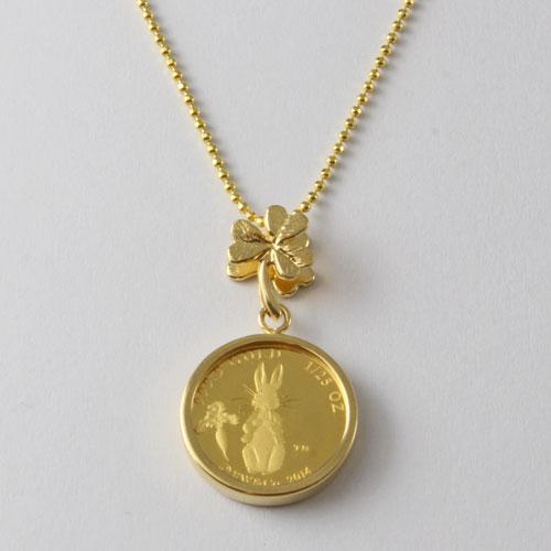純金 コイン 1/25オンス ペンダント ピーターラビット 両面ガラス入り 2288-PG15