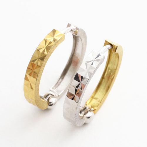 日本製 18金 リバーシブル ピアス ダイヤモンドカット 2325-PG15