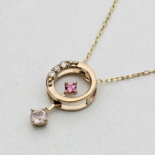 10金 ネックレス 揺れるペンダント ピンクトルマリン ダイヤモンド ローズクォーツ 2343-PG15