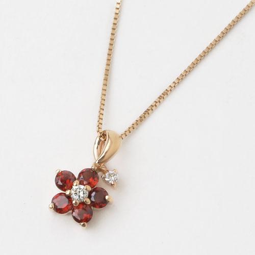 日本製 18金 ピンクゴールド ガーネット ダイヤモンド  フラワー ペンダント 2346-PG15