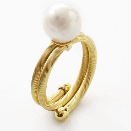 18金 リング(指輪) あこや真珠 K18YG フリーサイズ  2394-RG15