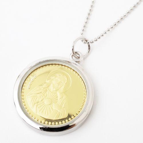 純金 コイン キリスト ペンダント 両面ガラス付 2395-ZZ18