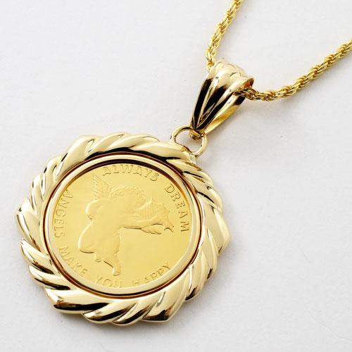 純金 コイン 1/4オンス ペンダント エンジェル/天使 K18 デザイン枠 2453-PG16