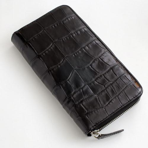 長財布 クロコ調 牛革 (ブラック/黒色) デッラジョイア 2466-TO16