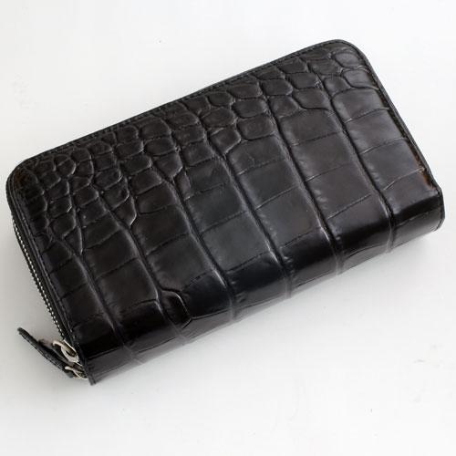 長財布 クロコ調 牛革 ダブル収納 (ブラック/黒色) デッラジョイア 2469-TO16