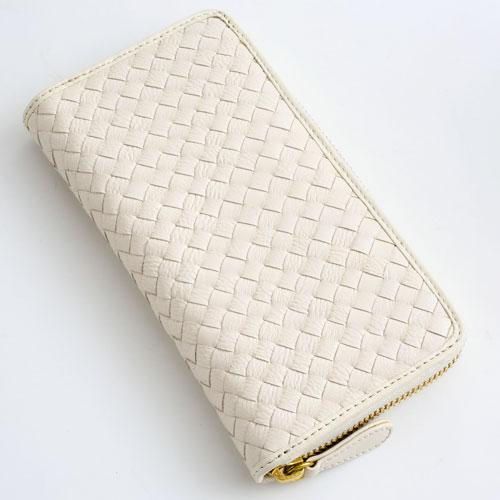 長財布 メッシュ 手編み 牛革 (ホワイト/白) デッラジョイア 2472-TO16