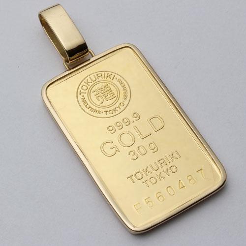 純金 インゴット 30g ペンダント K18 シンプル枠 徳力本店 日本製 2484-PP16