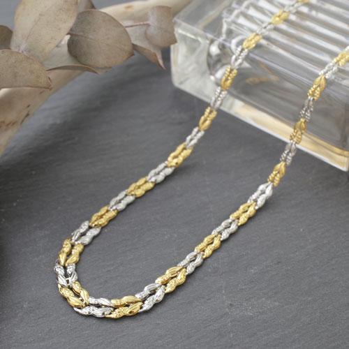 日本製 純金 純プラチナ コンビネックレス 7.1g 45cm グラデーション  3001-NP14