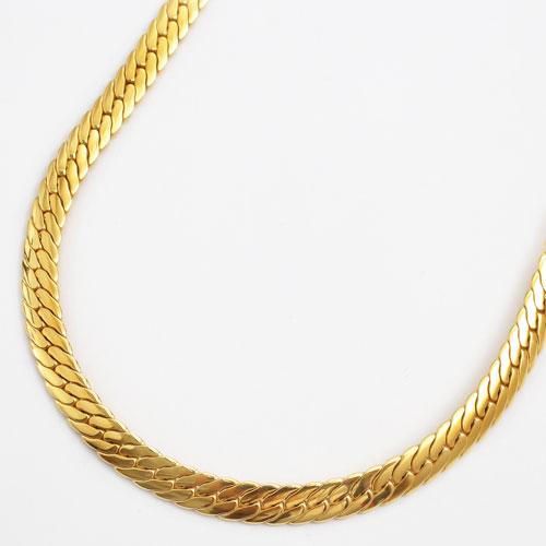 純チタン 22金ゴールドメッキ 極太6.3mm幅 ネックレス ヘリンボーンデザイン 60cm 3004-NC16