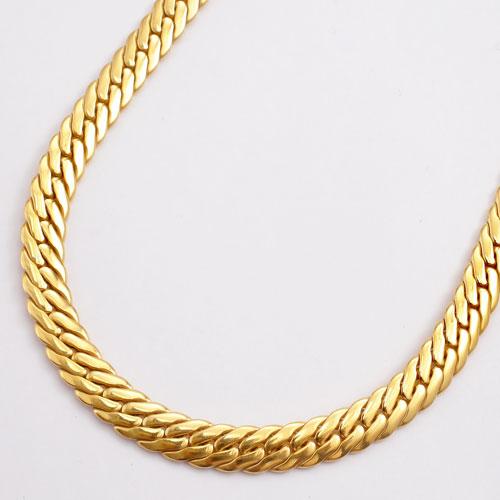 純チタン  22金ゴールドメッキ 極太4.7mm幅 ネックレス ヘリンボーンデザイン 60cm 3006-NC16