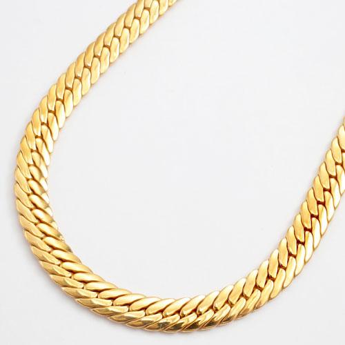 純チタン  22金ゴールドメッキ 極太4.7mm幅 ネックレス ヘリンボーンデザイン 50cm 3007-NC16