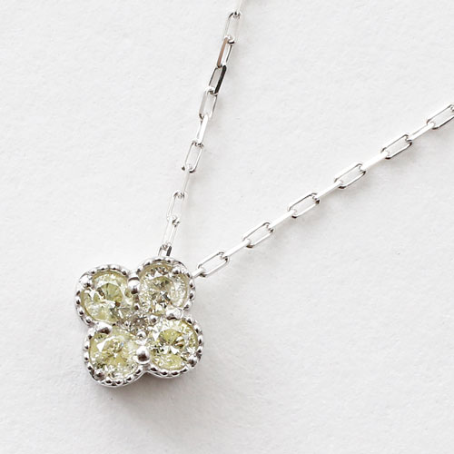 10金 K10WG ダイヤモンド 0.1ct ペンダント クローバー 小豆チェーン ネックレス 3035-PG16