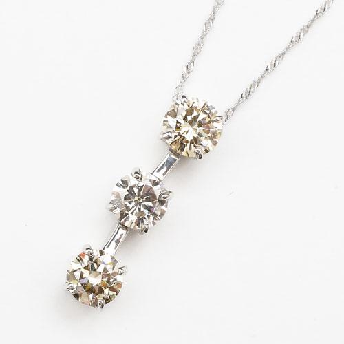pt900 プラチナ pt850 ネックレス ペンダント スリーストーン ダイヤモンド スクリューチェーン 3070-TK17