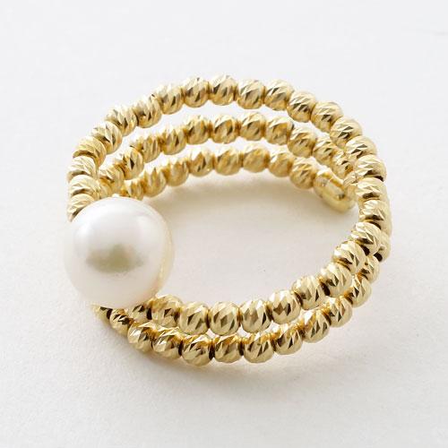 18金 リング(指輪) あこや真珠 カットボール K18YG フリーサイズ  3073-RG17