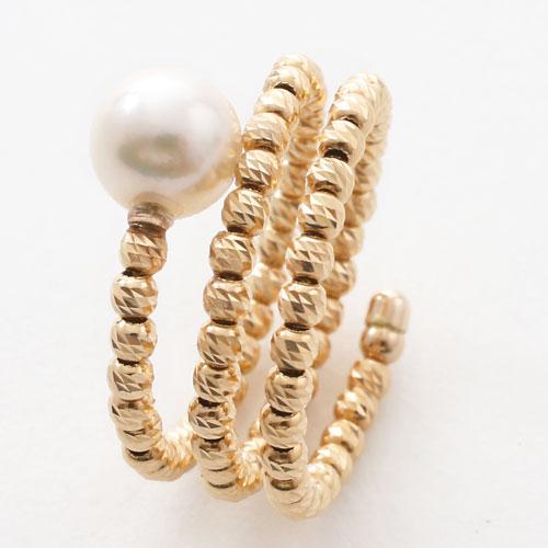 18金 リング(指輪) あこや真珠 カットボール K18WG フリーサイズ  3075-RG17