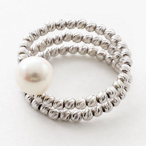 18金 リング(指輪) あこや真珠 カットボール K18WG フリーサイズ  3076-RG17