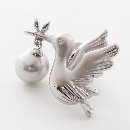 【母の日】プレゼント シルバー ピンブローチ あこや真珠 (バード) 3489-FS17