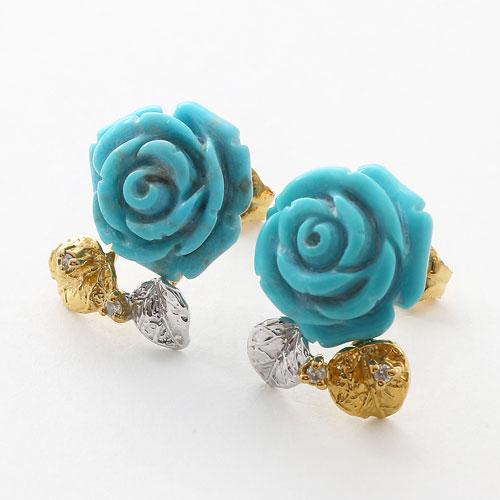 シルバー製 ターコイズ ダイヤモンド 薔薇 ピアス 3490-FS17