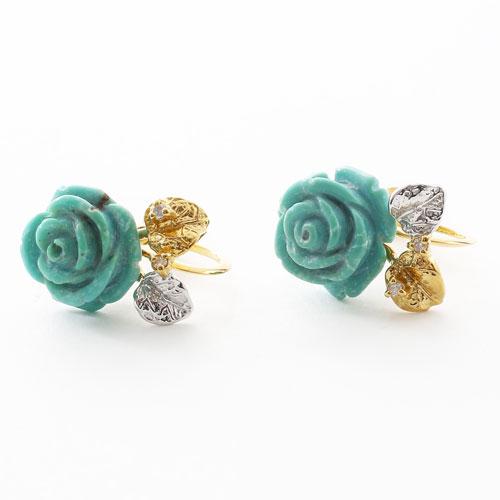 シルバー製 ターコイズ ダイヤモンド 薔薇 イヤリング 3491-FS17