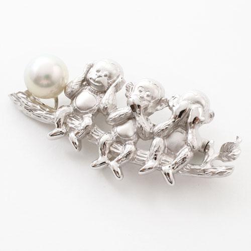 【母の日】プレゼント シルバー ブローチ兼用ペンダント あこや真珠 縁起物 (三猿) 3493-FS17