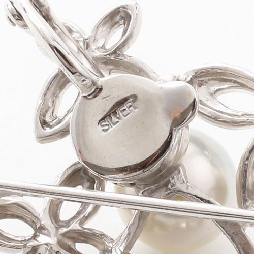 【母の日】プレゼント シルバー ブローチ兼用ペンダント あこや真珠 パール 花 (フラワー) 3494-FS17
