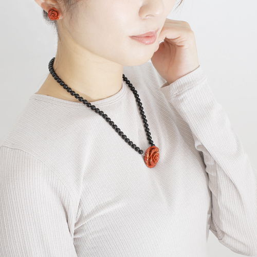 コーラル ネックレス ピアス 薔薇 ローズ 海の宝石 パッションコーラル・バラ彫り 3577-FS20