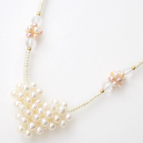 日本製 真珠 淡水真珠 淡水パール ネックレス 水晶 ハート 3581-FS20