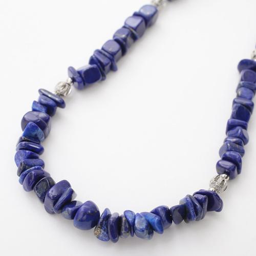 天然石 さざれ石 ラピスラズリ ネックレス 瑠璃色 ディープブルー   3582-FS20