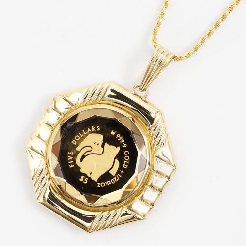 純金 コイン 1/20オンス ペンダント ミーチョとミーチャ 両面ガラス入り 3613-MS17