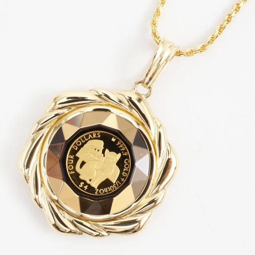 純金 コイン 1/30オンス ペンダント ミーチョとミーチャ 両面ガラス入り 3614-MS17