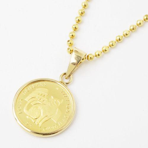 純金 ミーチョとミーチャ 1/30 コイン 金貨 ペンダント 3640-MS17