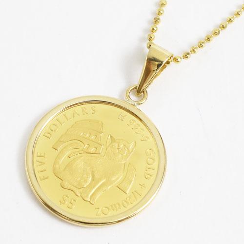 純金 コイン ペンダント ネックレス(ミーチョとミーチャ)K18枠 3641-MS17