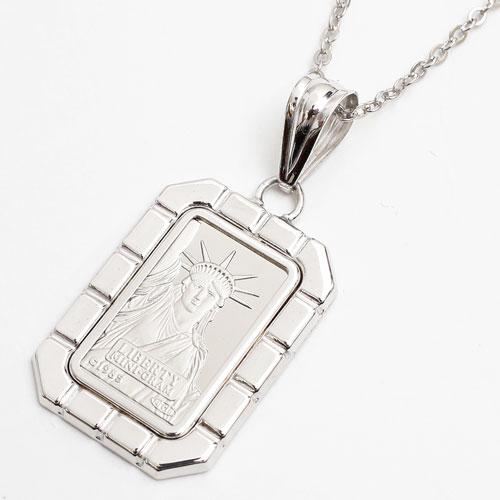 純プラチナ 2g 自由の女神 インゴット ペンダント 3704-JN17