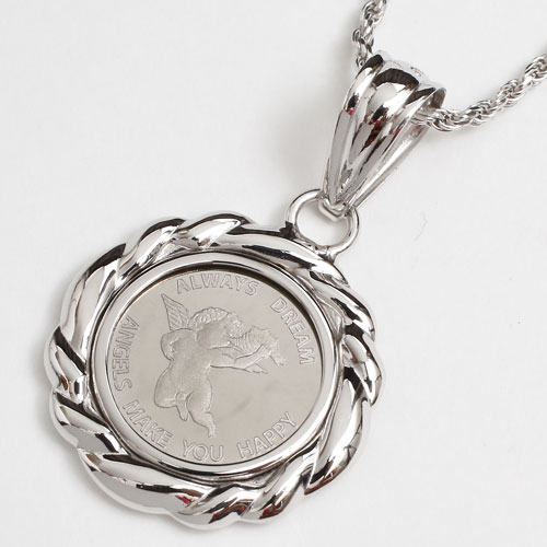 純プラチナ コイン 1/25オンス ペンダント エンジェル/天使 Pt900 デザイン枠 3706-JN17