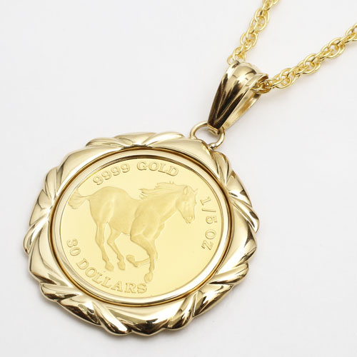 純金 コイン 1/5オンス ペンダント ホース/馬 フセコミ K18枠 3715-JN17
