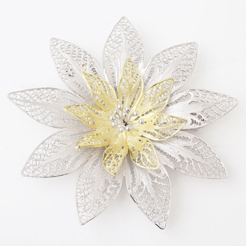 手作り ツーカラー シルバー925 フィリグラーナ・ブローチ(花) フラワー 3731-DM18