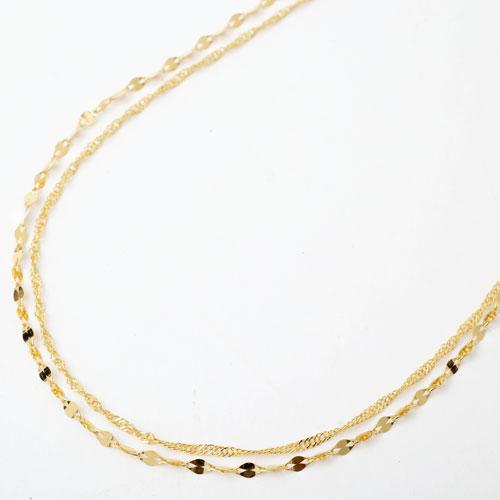 純金 2連 ネックレス キラキラ ペダル&スクリュー 3773-NM18