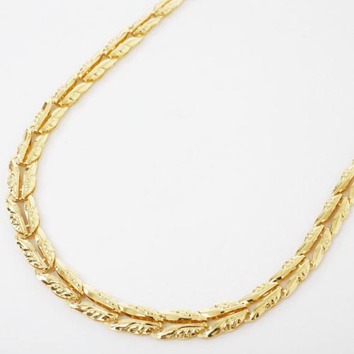 純金 ネックレス グラデーション 地金 リーフ リバーシブル 45cm 8g 3799-NM18