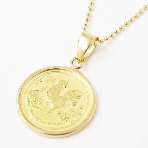 純金 コイン 1/20オンス 干支(酉)18金枠 カットボールチェーン付 3803-ZZ18