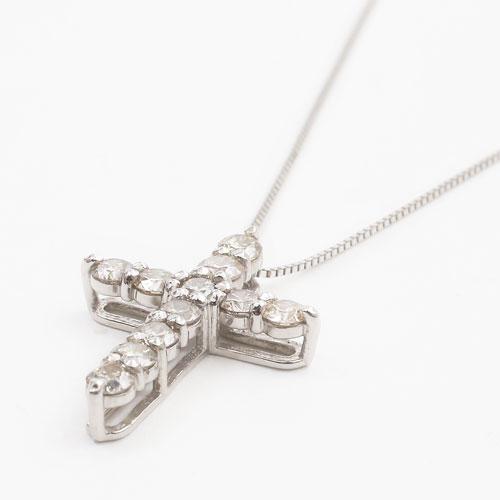 プラチナ Pt900/Pt850 ダイヤモンド 1ct Iクラス ペンダント クロス 3818-HG19