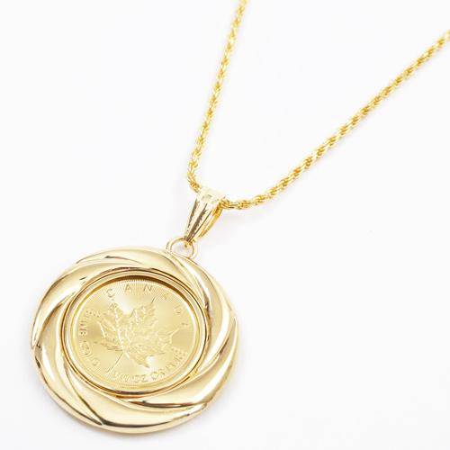 純金 コイン 1/2510オンス ペンダント メイプルリーフ K18 デザイン枠 3823-HG19