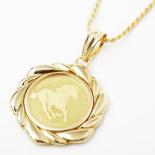 純金 コイン ペンダント ホース/馬 K18 デザイン枠 3857-JN18